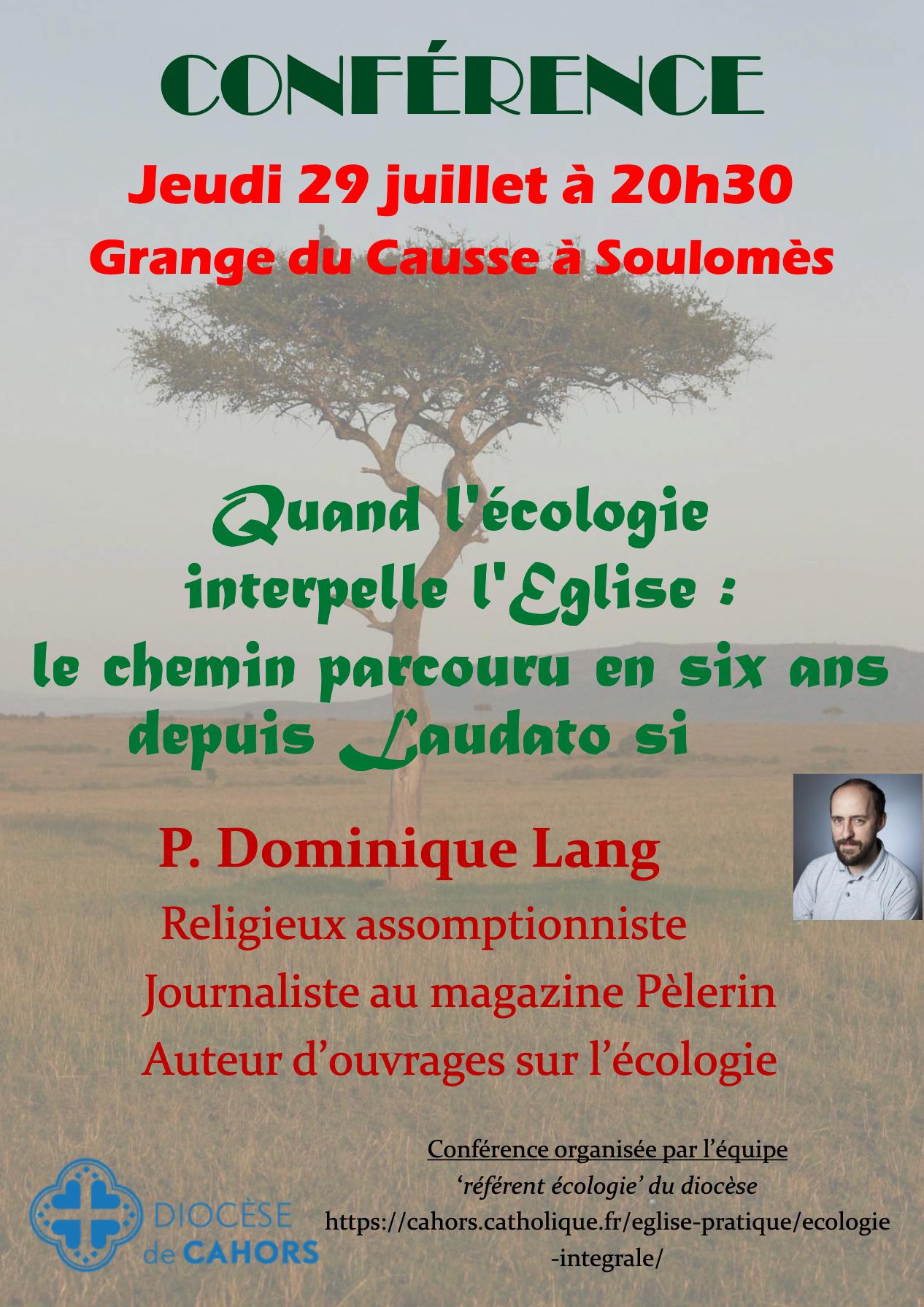 Conférence : Quand l'écologie interpelle l'Église
